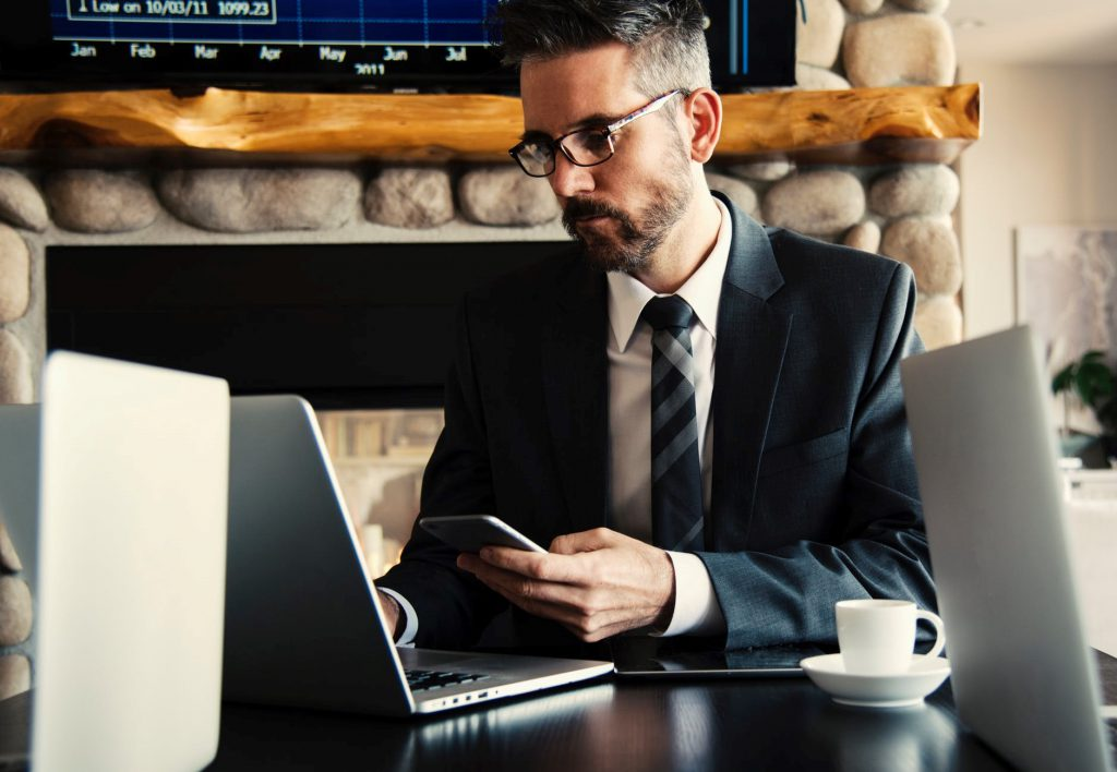 Entrepreneur looking at a computer